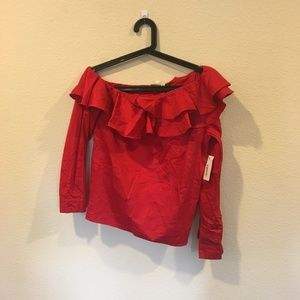 NWT Hot & Delicious red one shoulder ruffle top